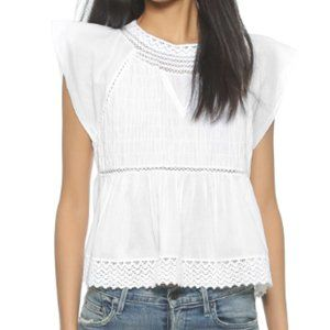 Madewell Lace Mix Cotton Crochet White Top